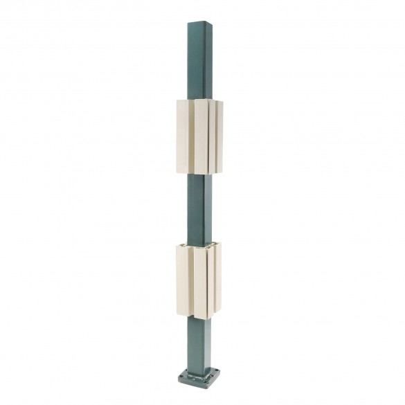 "Blu-Mount 36"" Heavy Duty Vinyl Railing Post Surface Mount for 4"" Post w/ PVC Guides - LMT 1366C-HD"