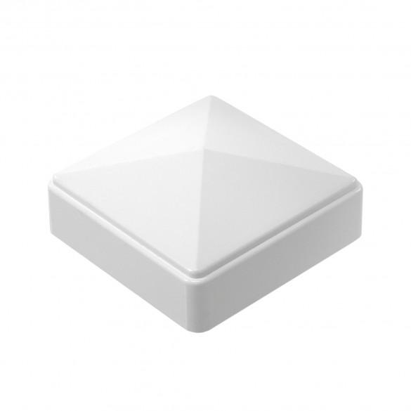 "LMT C-33R9W 3"" Sq Pyramid Vinyl Post Cap (Small Radius) - White"