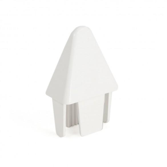 "LMT 1159W 7/8"" x 1 1/2"" Sharp Picket Cap (0.745"" x 1.362"" Inside Dimension) - White"