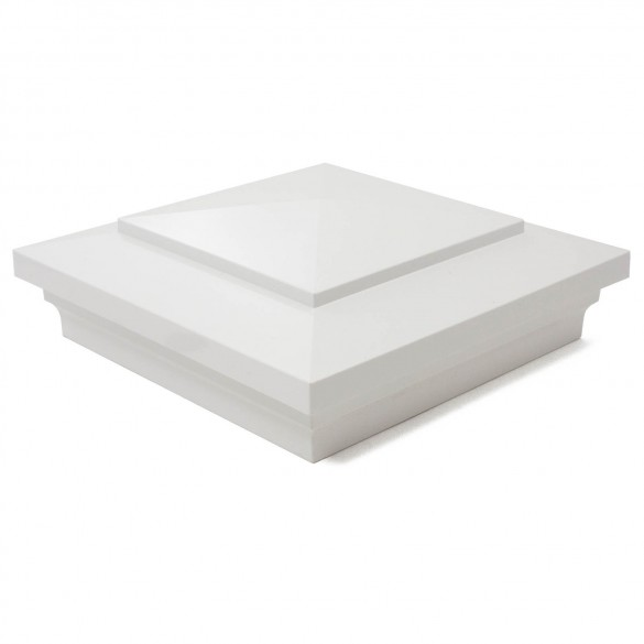 """LMT 1473W 3 5/8"""" Sq Cape May Post Cap (For 4"""" Wood Post) - White"""