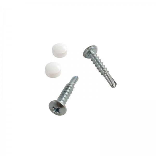"LMT 1360-500-WHITE #10 x 1"" Self-Drilling Screw and Cap - White"