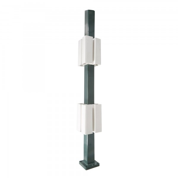 "Blu-Mount 42"" Heavy Duty Vinyl Railing Post Surface Mount for 5"" Post w/ PVC Guides - LMT 1367D-HD"