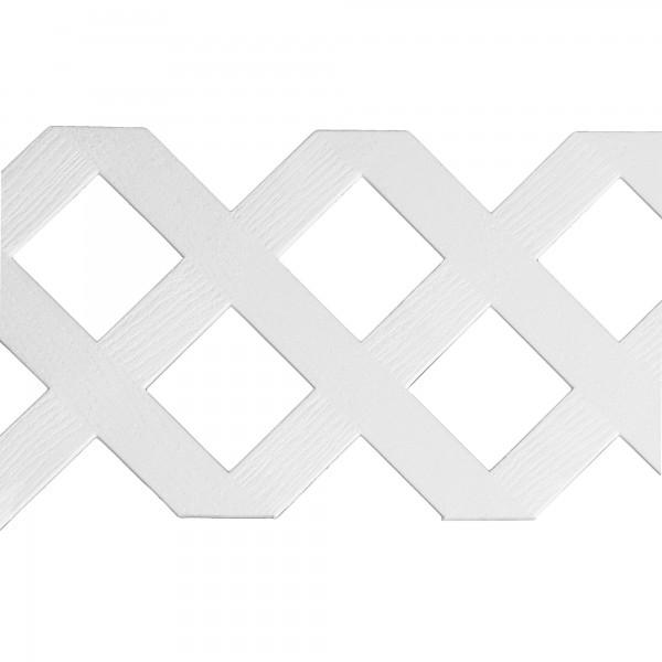 "LMT 1880W-12x96-240 12"" x 96"" Standard Diamond Lattice Panel (Wood Grain with 2.90"" Sq. Opening) - White"