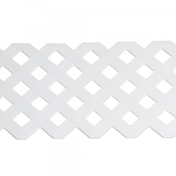 """LMT 1881W-12x96-240 12"""" x 96"""" 3D Privacy Diamond Lattice Panel With Border (Wood Grain with 1.15"""" Sq. Opening) - White"""