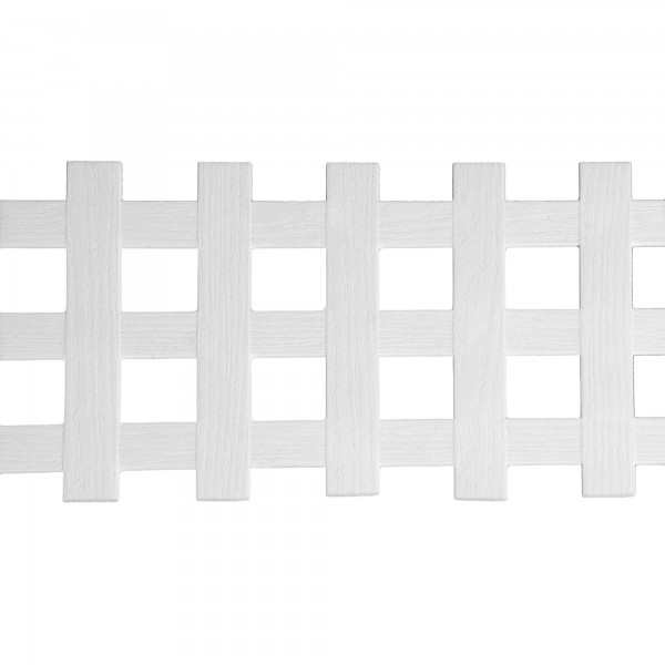 """LMT 1882W-12x96-240 12"""" x 96"""" Standard Square Lattice With Border (Wood Grain with 1.70"""" Sq. Opening) - White"""