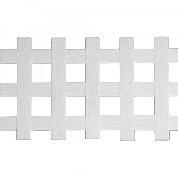 """LMT 1882W-12x96-32 12"""" x 96"""" Standard Square Lattice With Border (Wood Grain with 1.70"""" Sq. Opening) - White"""