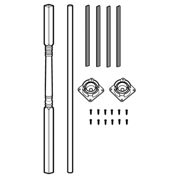 """LMT 3290-SPP KIT-WHITE 4"""" Sq x 108"""" Porch Post Kit (Structural) - White"""