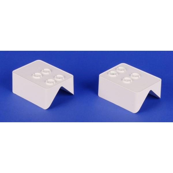 """LMT 1397-WHITE 2"""" x 3 1/2"""" Covered Handrail Bracket 45 Degree Adapter Kit - White"""