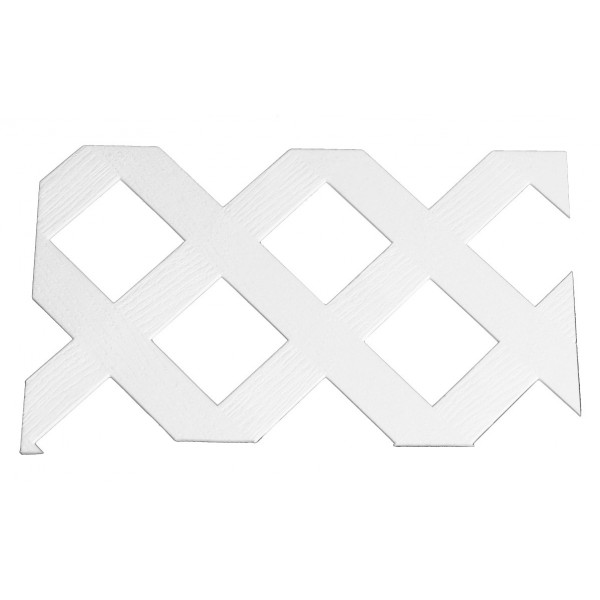 "LMT 1584W-12x96 12"" x 96"" 3D Privacy Diamond Lattice (Overlap Wood Grain with 1"" Sq Opening) - White"