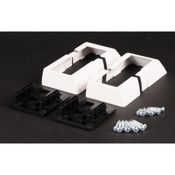"LMT 1618-WHITE 2"" x 3.5"" Stair Rail Handrail Bracket Kit (3 Piece) - White"