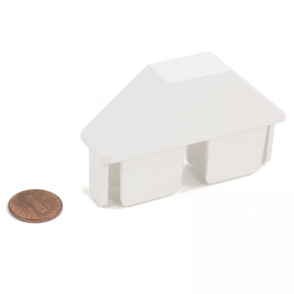 """LMT P-78D-W 7/8"""" x 3"""" Dog Ear Picket Cap - White (penny shown for scale)"""