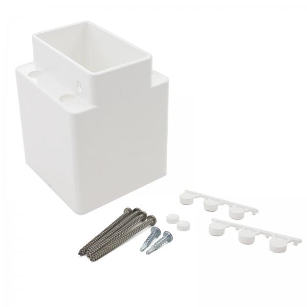 "LMT 1427-WHITE 2"" x 3 1/2"" Field Cut Adjustable Handrail Bracket Kit - White"