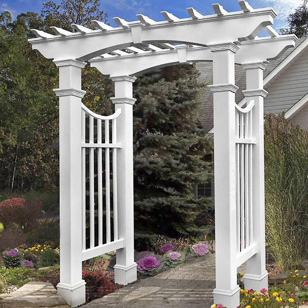 Pergola Arbor With White Decorative Post Sleeves Installation
