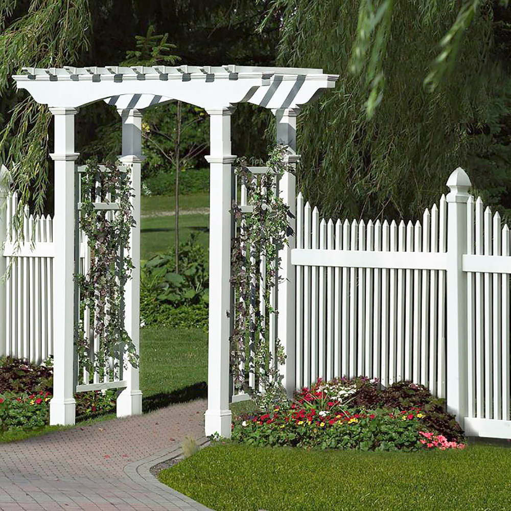 Gothic Post Cap Picket Fence and Pergola Installation